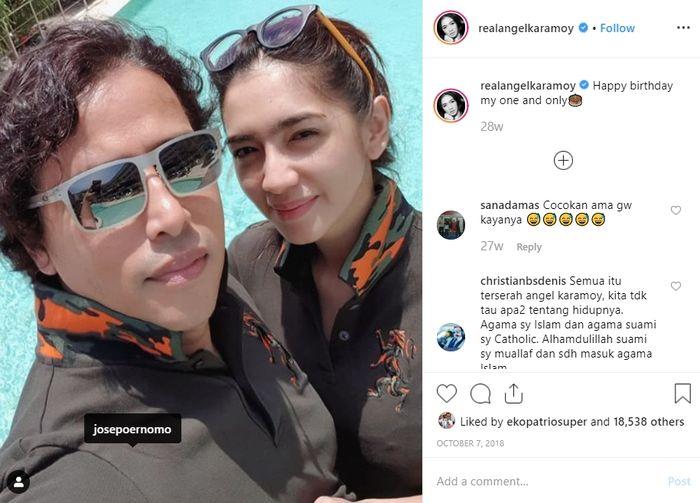 Angel Karamoy unggah foto kebersamaannya bersama sang kekasih Jose Poernomo.