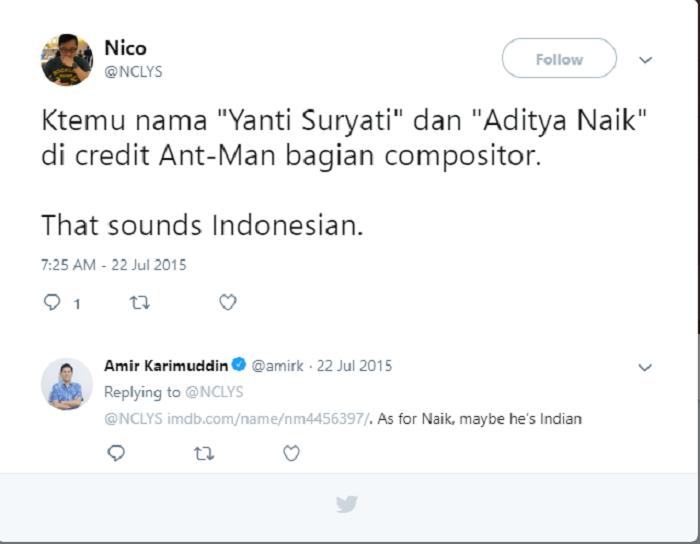 Cuitan pengguna Twitter temukan nama orang Indonesia, Yanti Suryati terlibat di film Avengers: Endgame.
