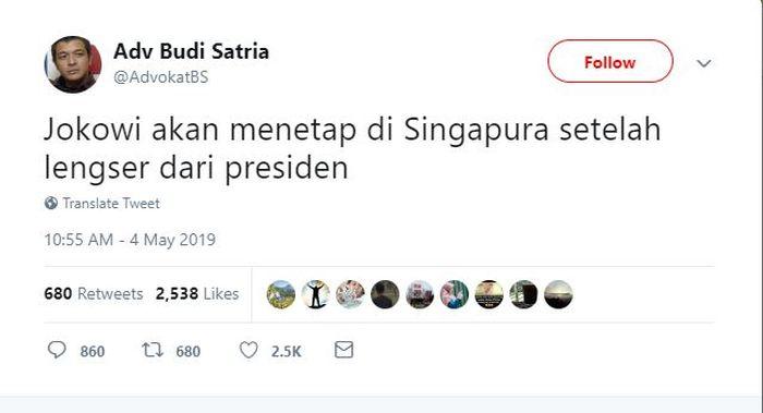 Presiden Joko Widodo diisukan bakal akan menetap di Singapura setelah dirinya lengser dari masa jabatannya.