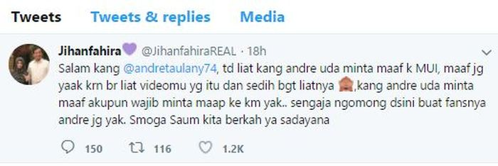 Permintaan maaf Jihan Fahira kepada Andre Taulany.