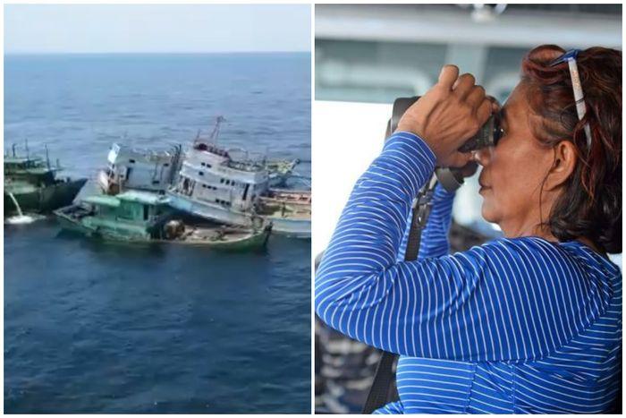 Video detik-detik penenggelaman kapal asing ilegal yang dipimpin langsung oleh Menteri Susi