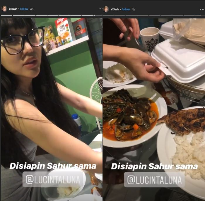 Penampilan Lucinta Luna menyiapkan sahur tanpa make up