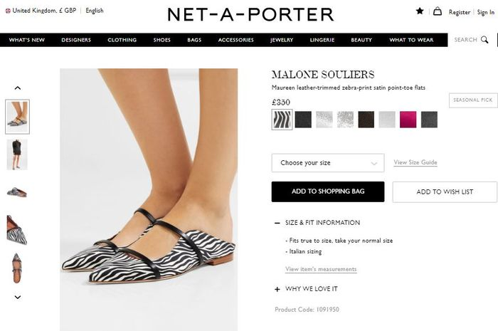 MALONE SOULIERS - Maureen leather-trimmed zebra-print satin point-toe flats