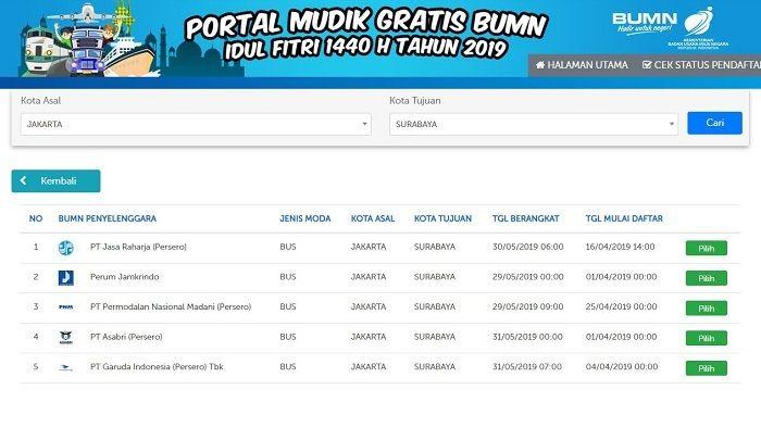 Tampilan portal mudik gratis BUMN 2019