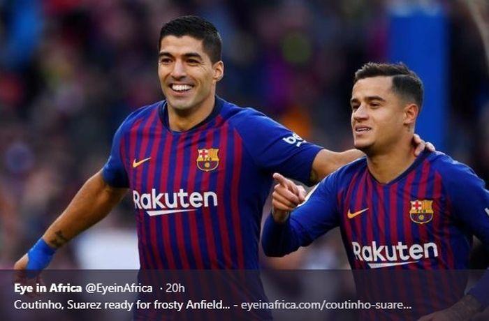 Mantan pemain Liverpool yang kini memperkuat Barcelona, Luis Suarez dan Philippe Coutinho
