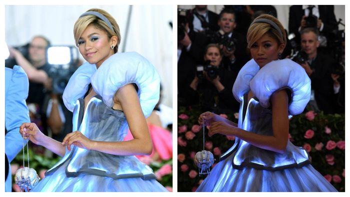 Tas Zendaya yang mirip kereta labu seperti dalam animasi Cinderella.