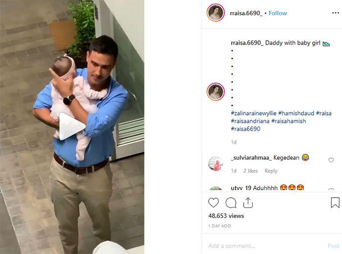 Hamish Daud menggendong putrinya