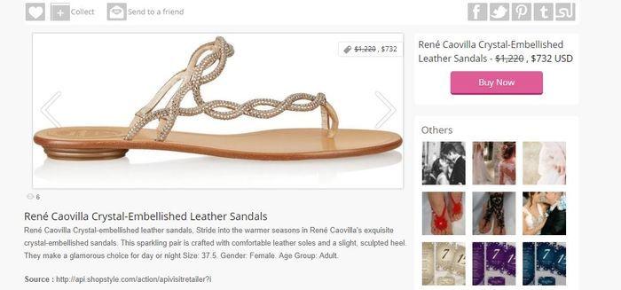 Harga sandal jepit Rene Caovilla-Crystal Embellished Leather Sandals yang dipakai Syahrini saat foto cantik di tengah sawah