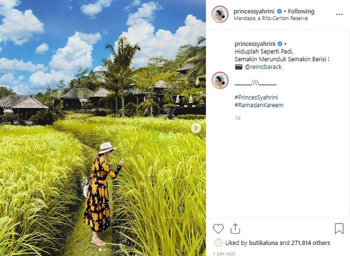 Main ke Sawah, Harga Dress yang Dipakai Syahrini Dibanderol Nyaris 40 Juta Rupiah | Instagram @princessyahrini