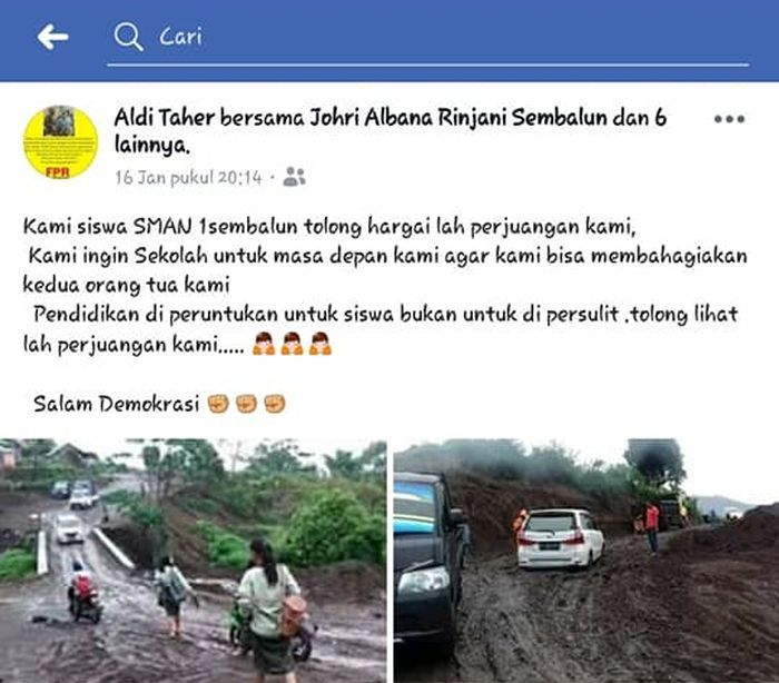 Status Facebook Aldi Irpan yang dipermasalahkan.