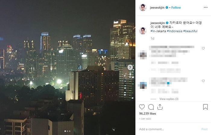 Tangkapan layar unggahan Ji Suk Jin.