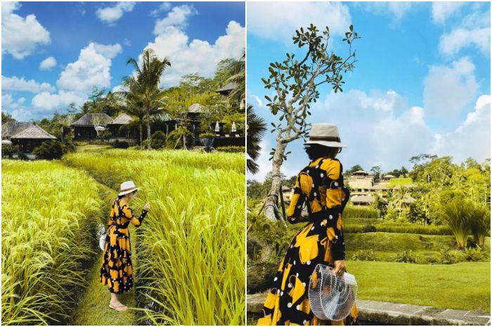 Syahrini saat tengah berlibur ke Bali dan pakai tas mirip Nia Ramadhani