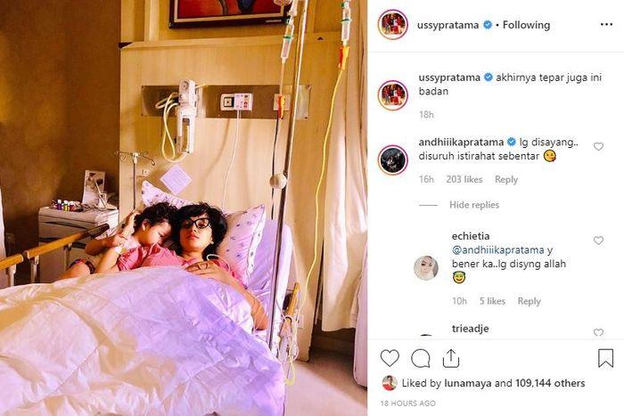 Ussy Sulistyawaty terbaring di rumah sakit