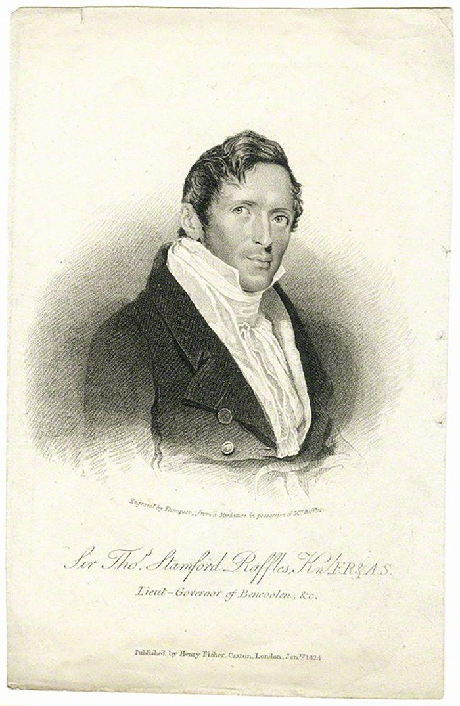 Letnan Gubernur  Thomas Stamford Raffles menguasai Hindia Belanda selama 1811-1816. Lukisan ini dibuat ketika dia menjabat sebagai Letnan Gubernur Bengkulu. Litografi oleh Thompson berdasarkan miniatur.