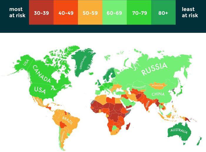 Peta data yang menunjukkan sepuluh negara paling mampu bertahan dan rentan terhadap perubahan iklim.