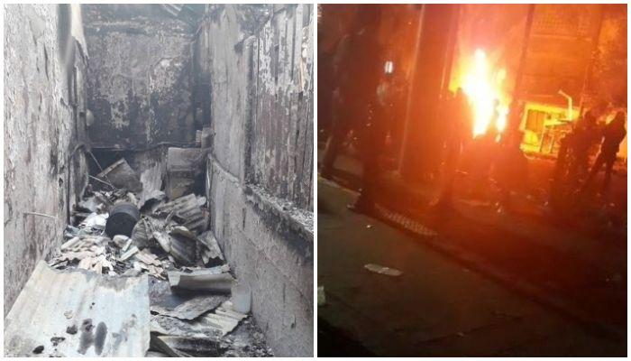 Warung mi instan milik Suhama dan Ismail di samping Pos Polisi Sabang yang ludes terbakar.