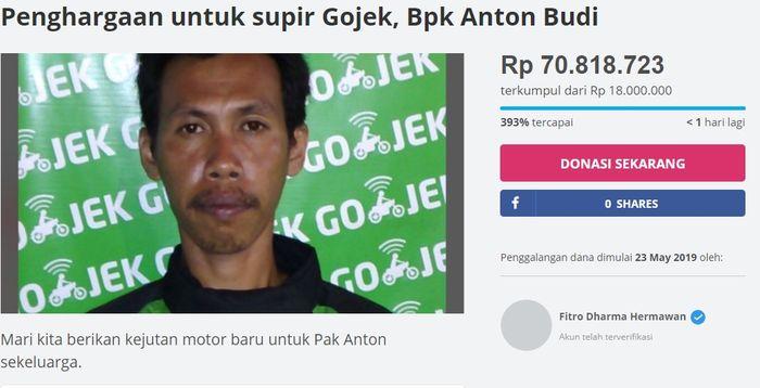 Total Sumbangan untuk Pak Anton