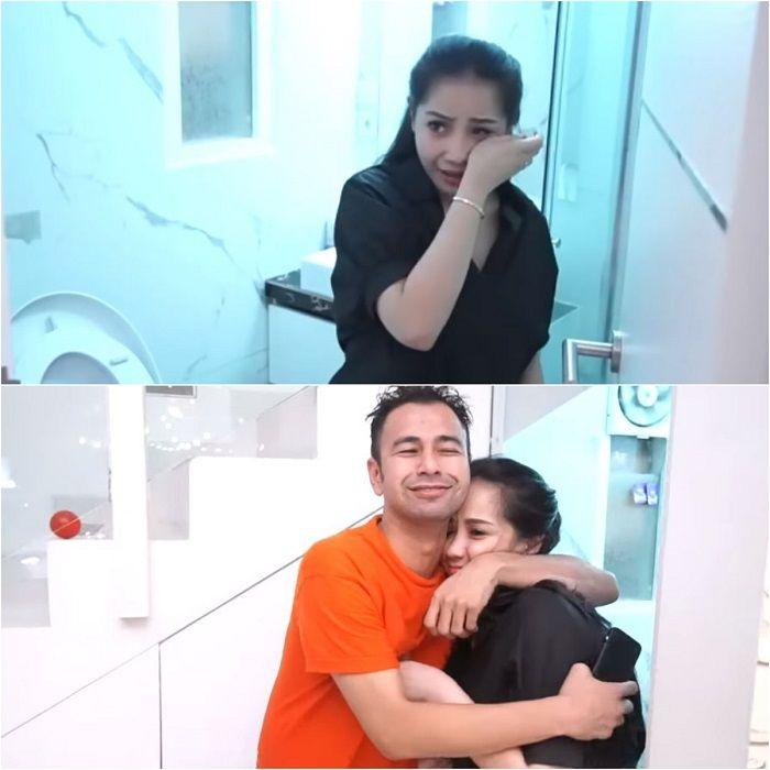 Diduga Nagita nangis di kamar mandi, (bawah) Raffi memeluk erat-erat istrinya