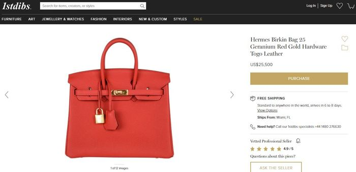 Hermes Birkin Bag 25 Geranium Red Gold Hardware Togo Leather