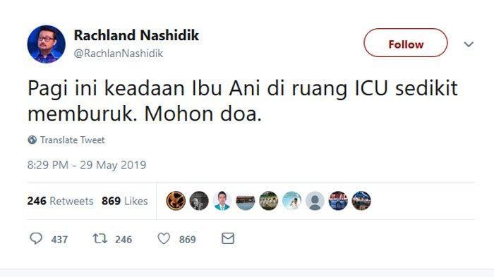 Cuitan politisi Demokrat soal kesehatan Ibu Ani Yudhoyono