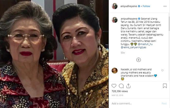 Potret mendiang Ani Yudhoyono bersama sang ibunda, Sunarti Sri Hadiyah, yang diunggah pada Mei 2018 silam.