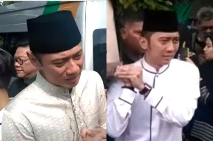 AHY dan Ibas tampak menangis saat mengantarkan jenazah ibunda tercinta mereka, <a href='https://batam.tribunnews.com/tag/ani-yudhoyono' title='AniYudhoyono'>AniYudhoyono</a>.