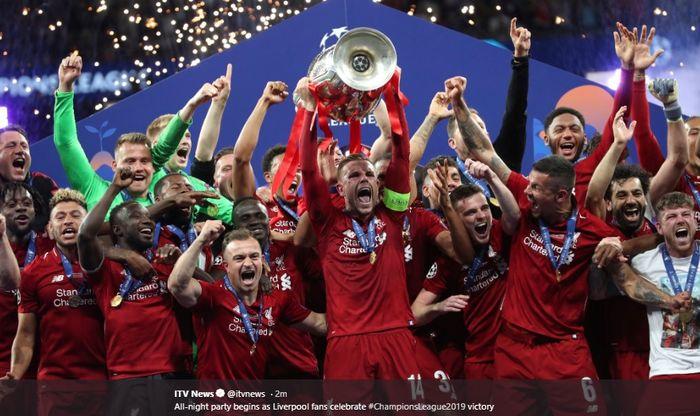 Liverpool sukses menjadi juara Liga Champions 2018-2019 usai kalahkan Tottenham Hotspur dengan skor  2-1 pada partai puncak Liga Champions di Stadion Metropolitano, Sabtu (1/5/2019)