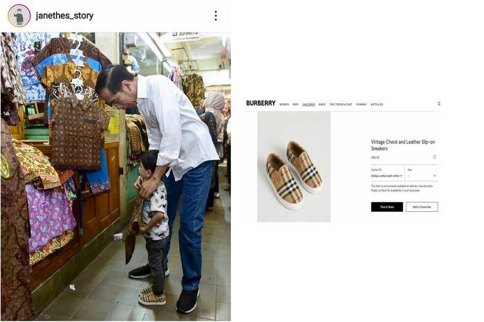 Sepatu yang dikenakan oleh cucu Jokowi, Jan Ethes.