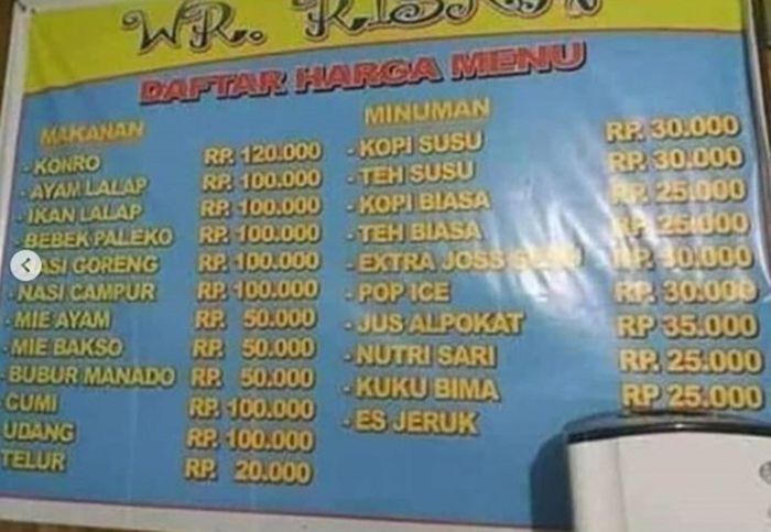 Warung makan Riska yang dikatakan menjual menu dengan harga selangit
