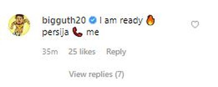 komentar Danny Guthrie di instagram yang menyatakan dirinya siap direkrut Persija Jakarta