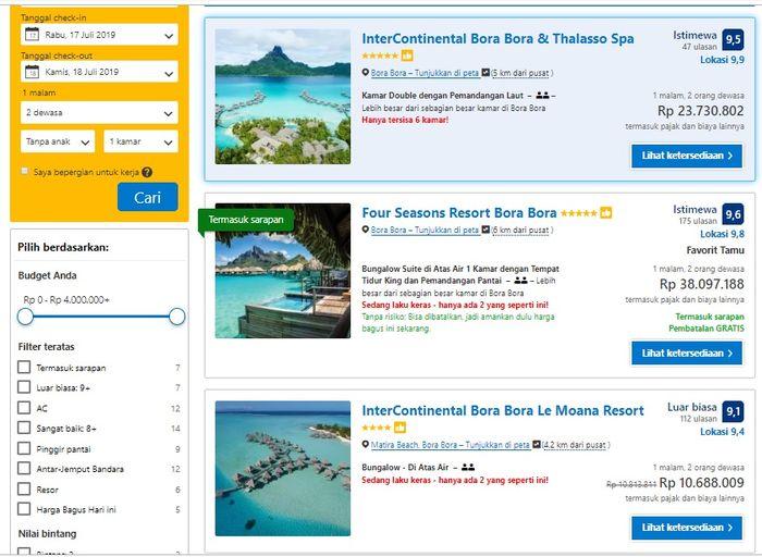 Harga sewa resort di Bora-bora untuk dua orang.