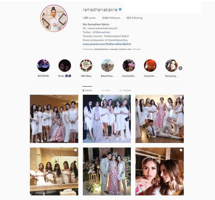 Unggahan Instagram Nia Ramadhani saat acara pertunangan Jessica Iskandar dan Richard Kyle