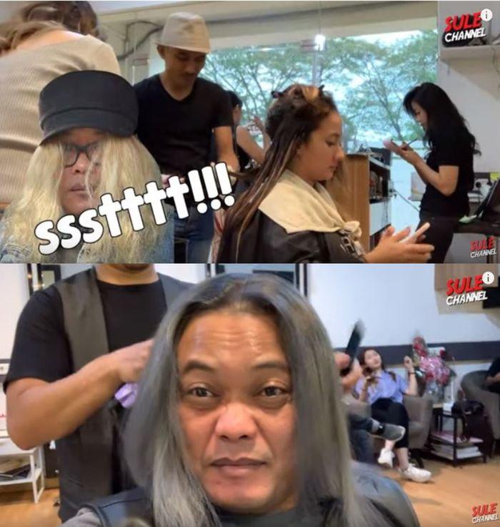 Sule dan Naomi Zaskia menghabiskan waktu untuk melakukan perawatan rambut bersama di salon.