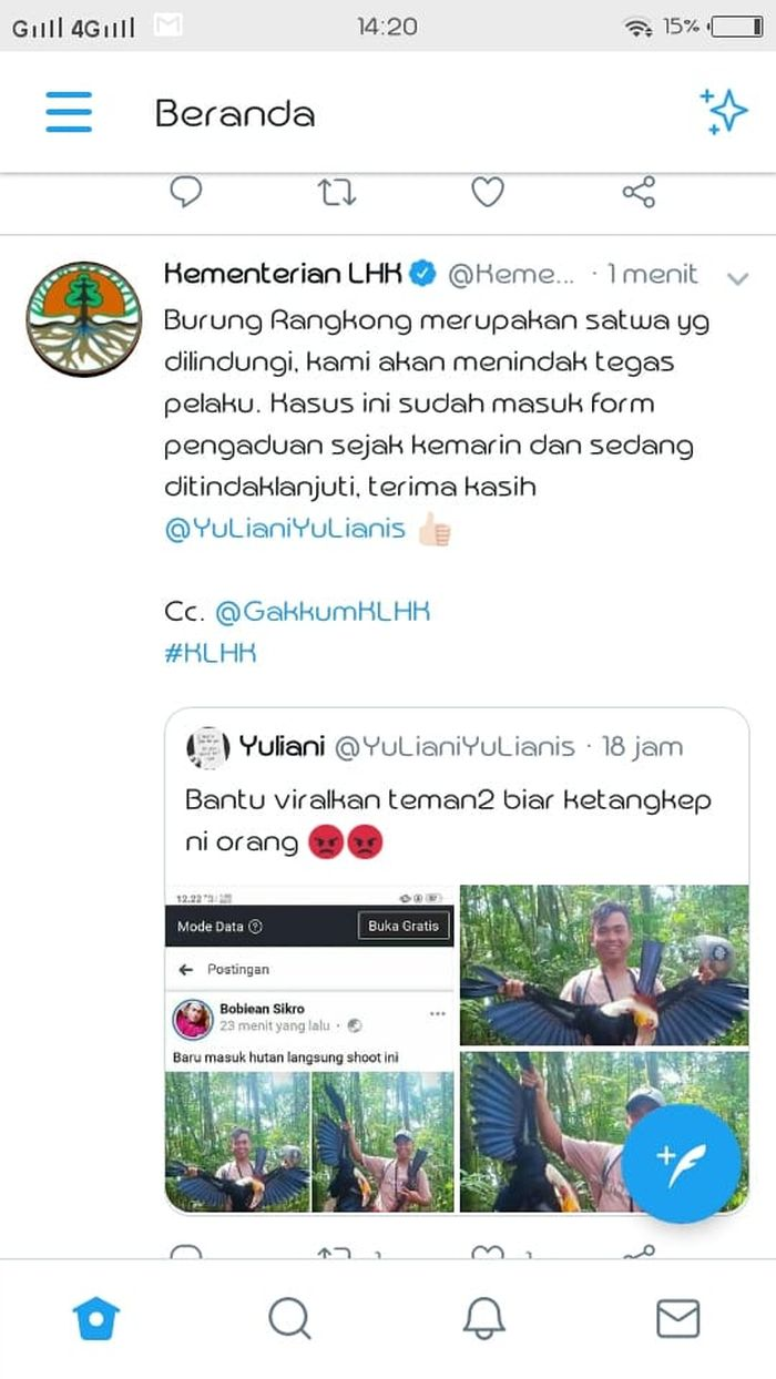 Tangkap layar cuitan Twitter Kementrian LHK