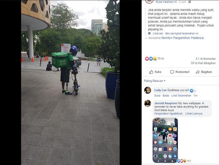 Pengemudi Ojol dengan Satu Kaki Palsu Mengantarkan Makanan Pakai Sepeda Listrik.