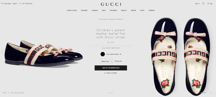 Gucci - Children's patent leather ballet flat with Gucci stripe