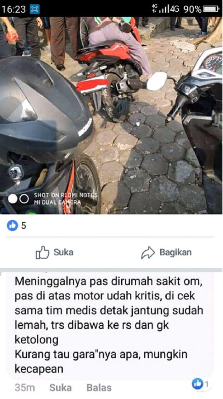 Pengemudi (driver) ojek online (ojol) di Magelang meninggal dunia di atas kendaraannya.