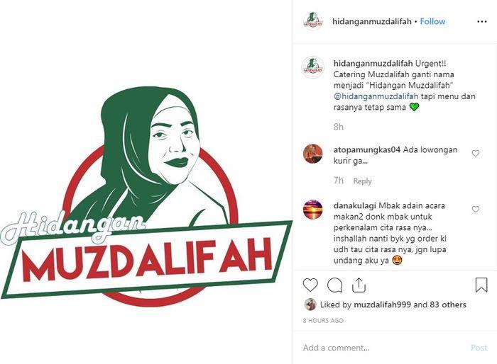 Muzdalifah mengganti nama bisnis catering miliknya