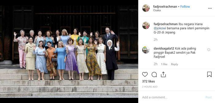 Foto Bareng Istri Pemimpin G20 di Osaka, Iriana Jokowi Tampil Beda hingga Curi Perhatian Netizen | dok. Instagram @fadjroelrachman