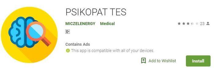 Psikopat Tes di Play Store