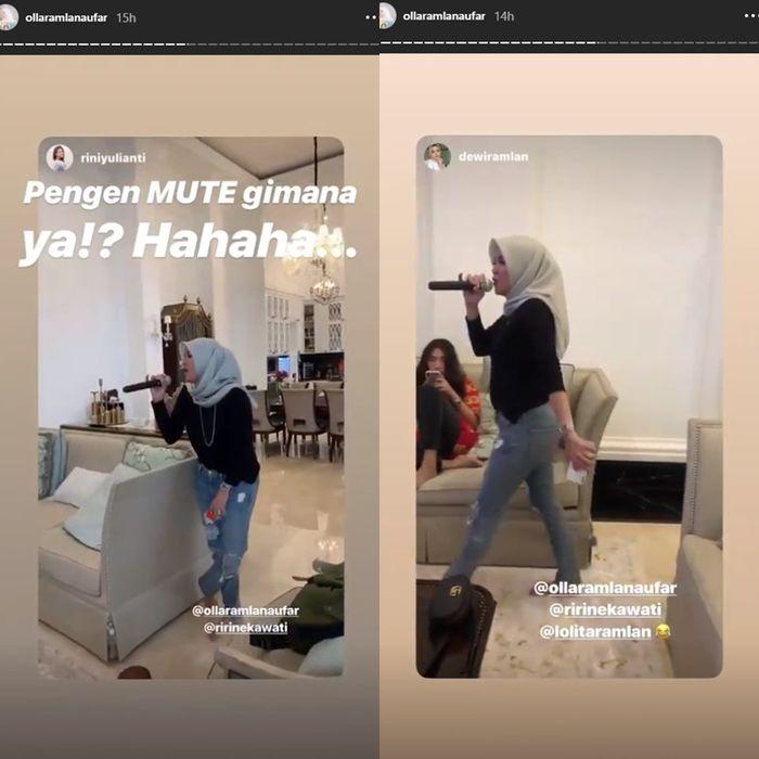 Olla Ramlan karaokean di rumah Nindy Ayunda