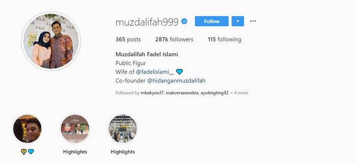 Nama Muzdalifah berubah jadi Muzdalifah Fadel Islami