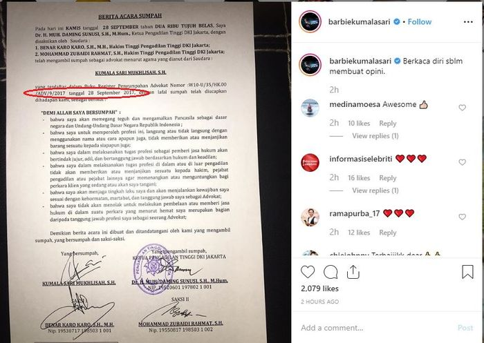 bukti status pengacara Barbie Kumalasari
