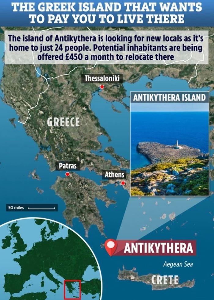 Saat ini hanya 24 orang yang tinggal di Pulau Antikythera