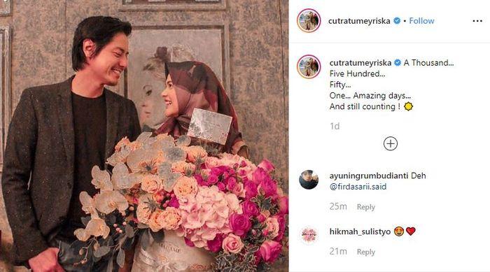 Unggahan Instagram Cut Meyriska yang memamerkan kebersamaannya dengan Roger Danuarta