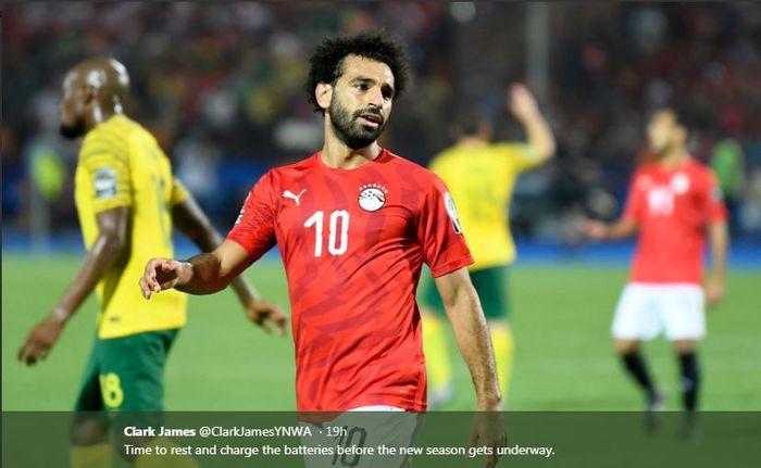 Mohamed Salah saat membela timnas Mesir di Piala Afrika 2019.