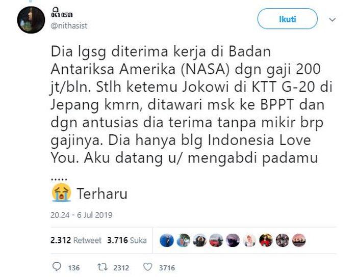Saking cerdasnya, Audrey Yu dikabarkan sampai dapat tawaran spesial dari Presiden Jokowi.