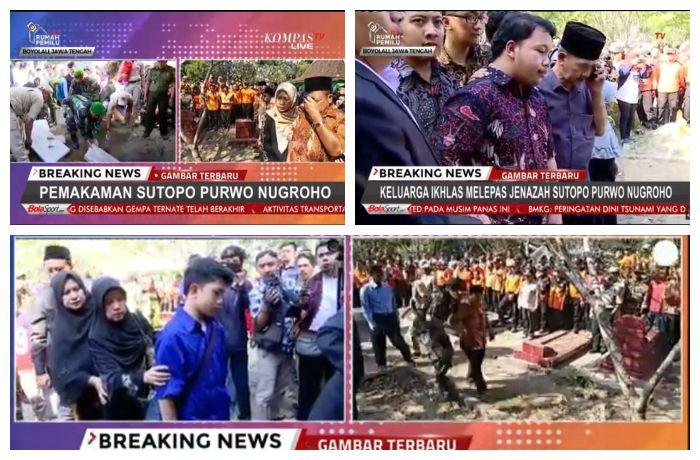 Tangkap layar video streaming Kompastv Foto - foto keluarga Sutopo di pemakaman.