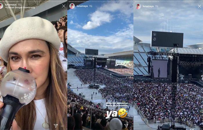 insta stori Luna Maya saat menonton konser BTS di Jepang