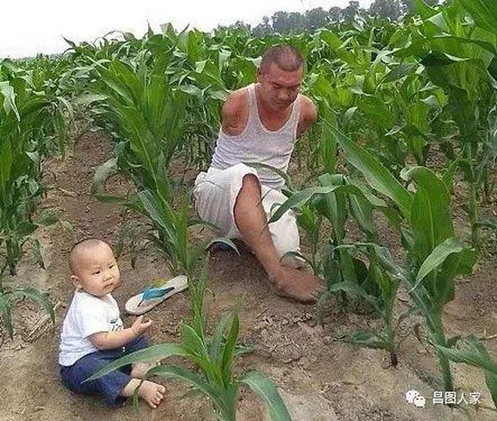 Wang juga bekerja bersama anaknya.